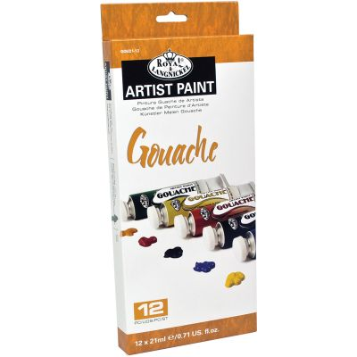 Gouache Acrylic Paints 21Ml 12/Pkg Assorted Colors - GOU21-12