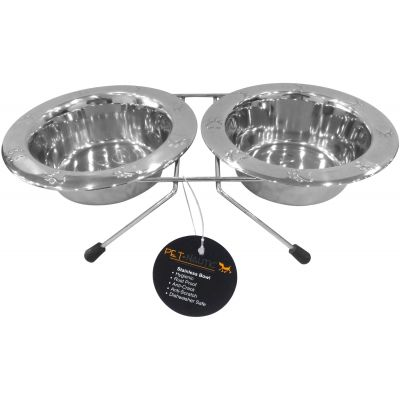 Pet Nautic Chrome Double Diner W/Embossed Bowls 96Oz Stainless Steel - ECS430