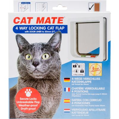 Cat Mate 4 Way Locking Cat Flap W/Door Liner White - CM235W
