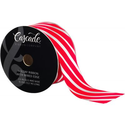 Cascade Textured Fabric Ribbon W/Wired Edge 2.5