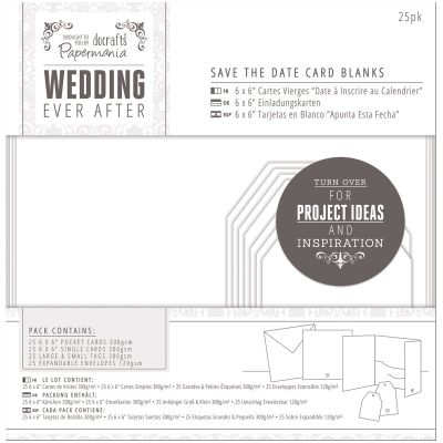 Papermania Ever After Wedding Blank Cards 25/Pkg White Die Cut Heart - PM158150