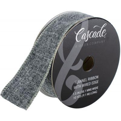 Cascade Flannel Ribbon W/Wired Edge 1.5