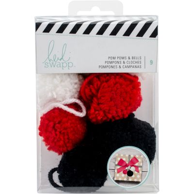 Heidi Swapp Gift Wrapping Embellishments Kit Pop Poms & Bells 9 Pieces - HS313229