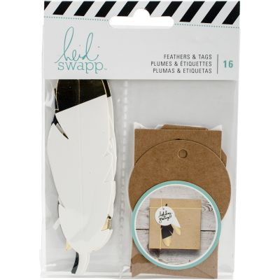 Heidi Swapp Gift Wrapping Embellishments Kit Feathers W/Gold 16 Pieces - HS313228