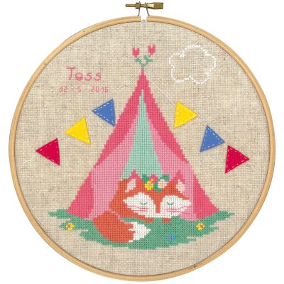 Small Fox In Tent Birth Record On Aida Counted Cross Stitch 8