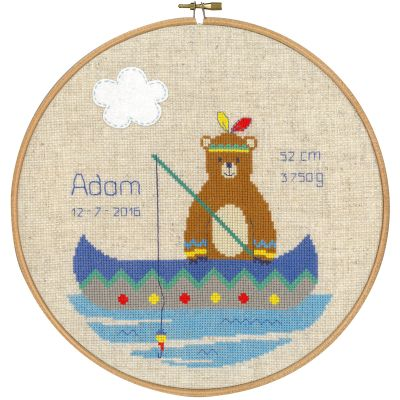 Indian Bear In Canoe Birth Record On Aida Counted Cross Stit 9.6