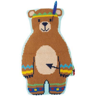 Indian Bear Shaped Cushion Cross Stitch Kit 15.8