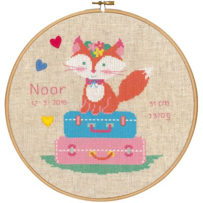 Fox On Travel Birth Record On Aida Counted Cross Stitch Kit 9.6