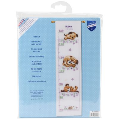 Playing Dogs Growth Chart On Aida Counted Cross Stitch Kit 7.2