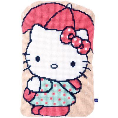 Hello Kitty Under Umbrella Shaped Cushion Cross Stitch Kit 14.8