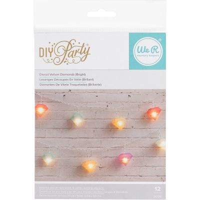 We R Diy Party Light Covers 12/Pkg Diamonds; Orange, Cayenne, Pink & Mint - 660201