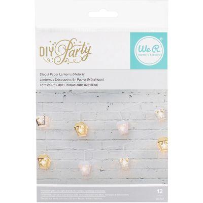 We R Diy Party Light Covers 12/Pkg 3D Garden Lanterns; Gold, Silver, White - 660966
