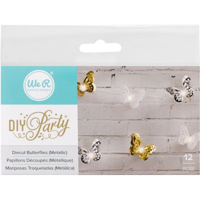 We R Diy Party Light Covers 12/Pkg Butterfly Layers; Gold, Silver & White - 662860