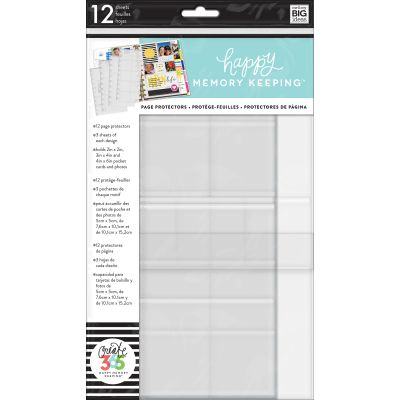 Happy Memory Keeping Big Page Protectors 12 Pre Punched Sheets, 4 Designs/3 Each - ALPL-03