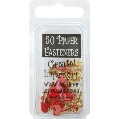 Painted Metal Paper Fasteners 50/Pkg Hearts  Red, White & Pink - CI90393