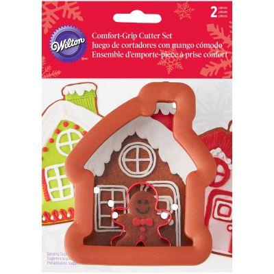 Comfort Grip Cookie Cutter Set 2/Pkg Gingerbread House W/Mini Gingerbread Boy - W7097