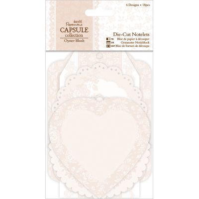 Papermania Oyster Blush Die Cut Notelets 18/Pkg 6 Designs/3 Each - PM157224