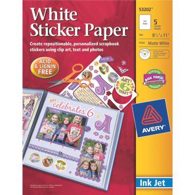 Avery Ink Jet Sticker Paper W/Cd 8.5