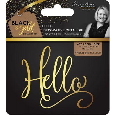 Sara Davies Signature Black & Gold Metal Die Hello - SBGMDHEL