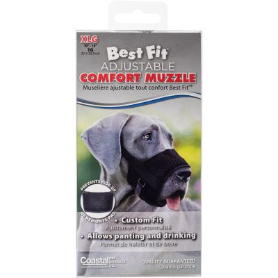 Best Fit Adjustable Comfort Dog Muzzle Black, Snout Size 10