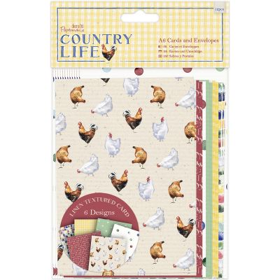 Papermania Country Life Cards W/Envelopes A6 12/Pkg Linen Finish - PM150123