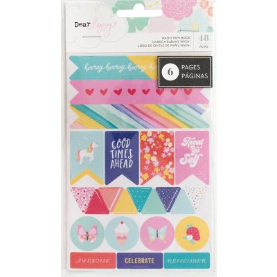 Dear Lizzy Stay Colorful Washi Tape Stickers 6 Page Notepad  - 346493