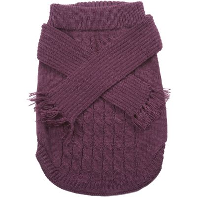 Dog Scarf Sweater Plum Extra Small - 651953