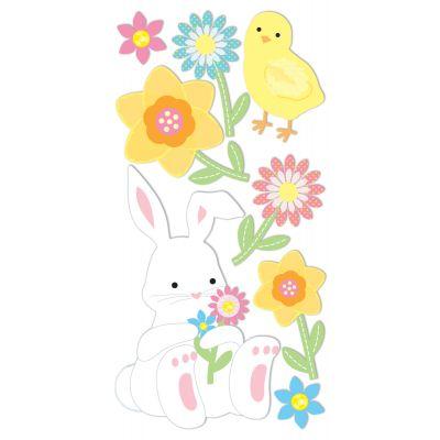 Sandylion Essentials Dimensional Stickers Bunny & Flowers - PESL-102