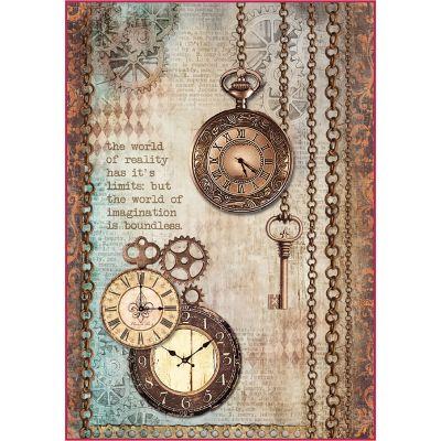 Stamperia Rice Paper Sheet A4 Clockwise Clock & Keys - DFSA4288