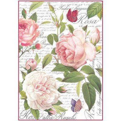 Stamperia Rice Paper Sheet A4 Vintage Rose - DFSA4304