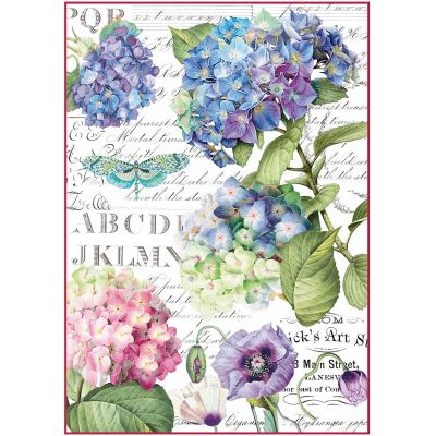 Stamperia Rice Paper Sheet A4 Hortensia & Dragonfly - DFSA4307