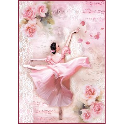 Stamperia Rice Paper Sheet A4 Dancer With Petals - DFSA4308