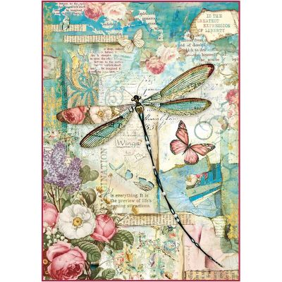 Stamperia Rice Paper Sheet A4 Wonderland Dragonfly - DFSA4309