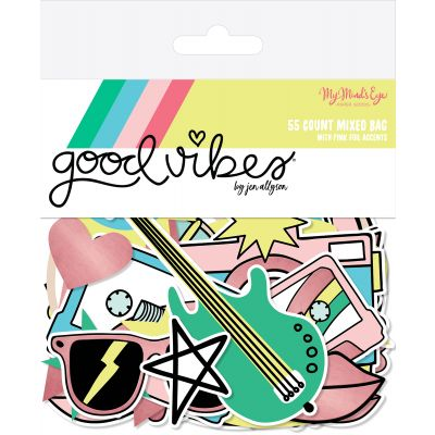 Good Vibes Mixed Bag Cardstock Die Cuts 55/Pkg W/Pink Foil - VIB116