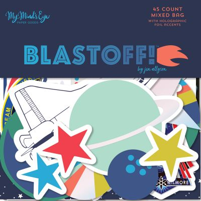 Blastoff Mixed Bag Cardstock Die Cuts 45/Pkg W/Holographic Accents - BST116