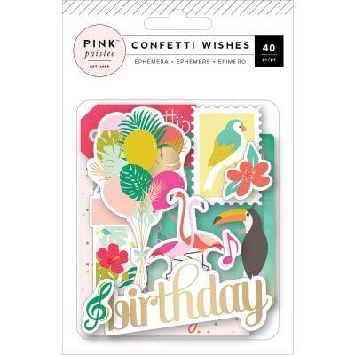 Confetti Wishes Ephemera Cardstock Die Cuts 40/Pkg W/Matte Gold Foil - 310661