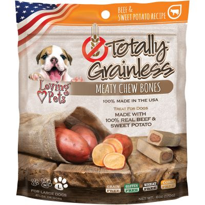 Totally Grainless Meaty Chewy Bones For Large Dogs 6Oz Beef & Sweet Potato - LP5302
