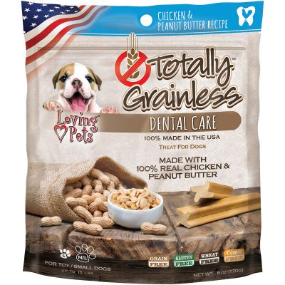 Totally Grainless Dental Bones For Small Dogs 6Oz Chicken & Peanut Butter - LP5305