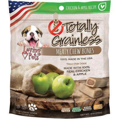 Totally Grainless Meaty Chewy Bones For Large Dogs 6Oz Chicken & Apple - LP5311