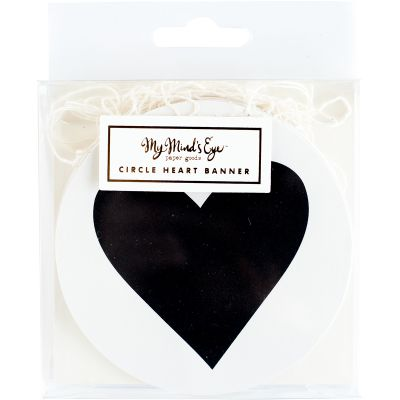 My Mind'S Eye Black & White Mini Banner 8' 22 Circle Hearts - BWP212
