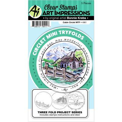Art Impressions Circlet Mini Tryfolds Stamp & Die Set Cabin - 4981