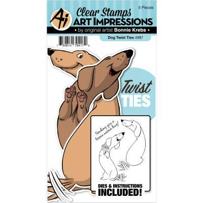 Art Impressions Twist Ties Stamp & Die Set Dog - 4987