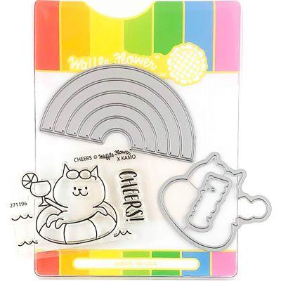 Waffle Flower Stamp & Die Set Rainbow Cheers - WFC196