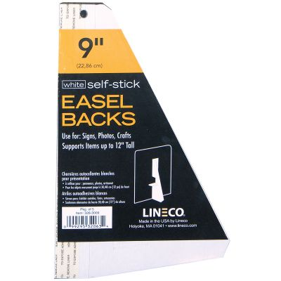 Lineco Self Stick Chipboard Easel Backs 5/Pkg White Single Wing 9
