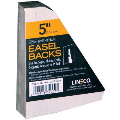 Lineco Self Stick Chipboard Easel Backs 25/Pkg White Single Wing 5