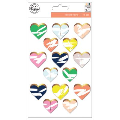 Pinkfresh The Mix No. 2 Gold Foiled Die Cuts 15/Pkg Hearts - RC600917