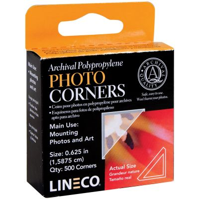 Lineco Polypropylene Photo Mounting Corners 500/Pkg Clear .625