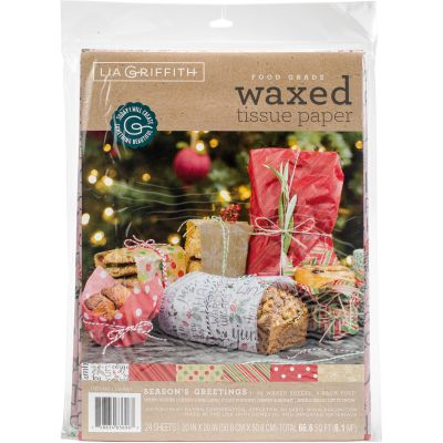 Waxed Food Tissue Paper 24/Pkg Seasons Greetings - LG30001
