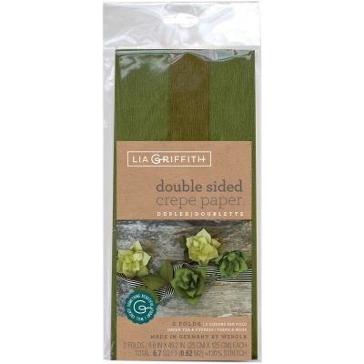 Double Sided Extra Fine Crepe Paper 2/Pkg Green Tea/Cypress & Ferns/Moss - LG11023