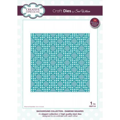 Creative Expressions Craft Dies By Sue Wilson Background Diamond Squares - CED7110